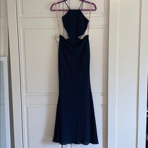 NWT Fame and Partners navy long dress US 4